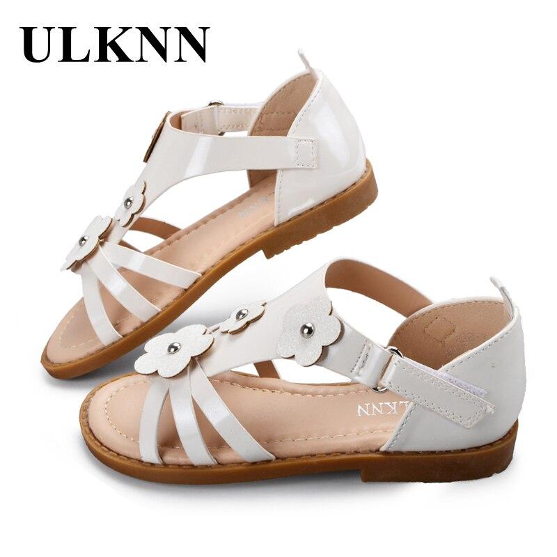 ULKNN Children Princess Shoes Girls Summer Sandals White Flower Flat Soft Leather Sandal ...