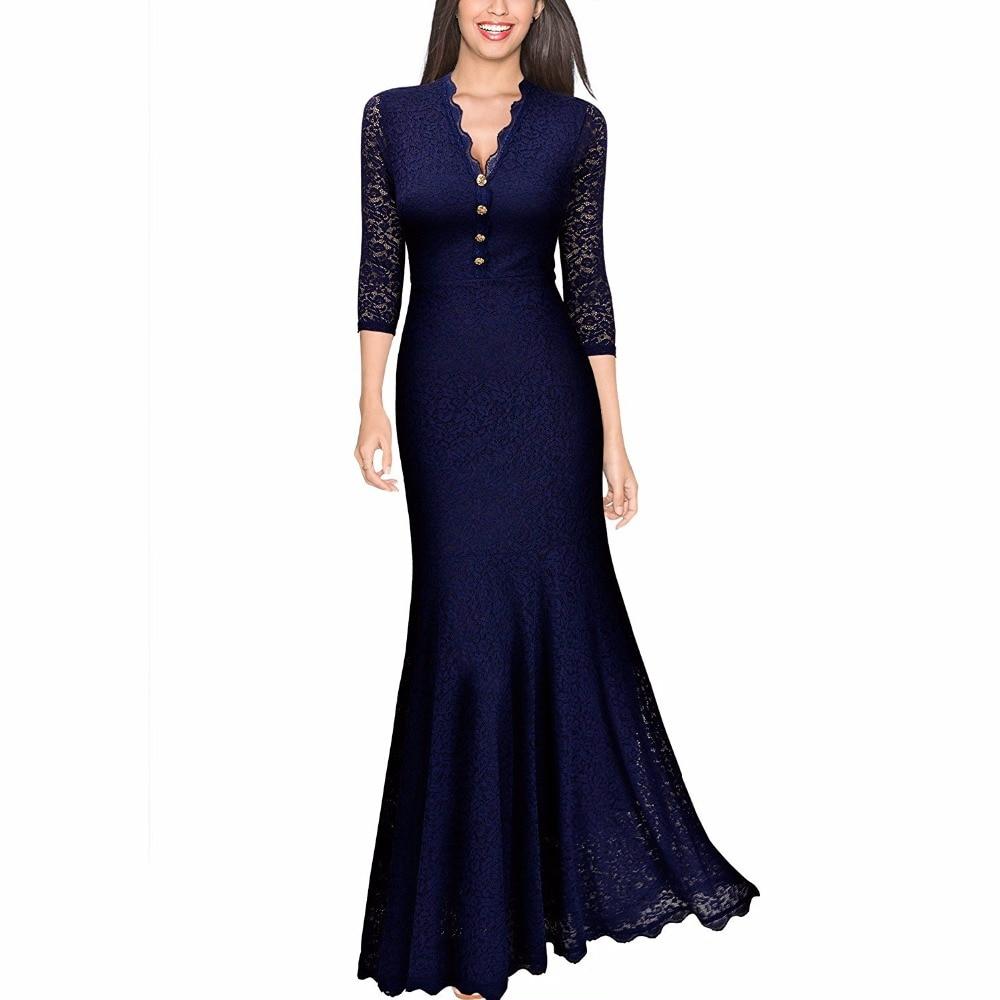 Կանանց ռետրո V պարանոցի ծաղկային 2/3 թև սևազգեստ հարսանիքի երեկույթ Maxi զգեստներով երկար երեկոյան ժանյակային զգեստներ