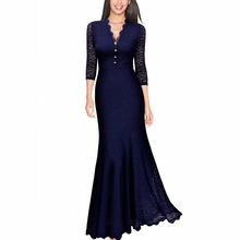 Women's Retro V Neck Floral 2/3 Sleeve Sexy Wedding Party Maxi Dress Long Evening Lace Dresses
