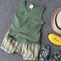 Niños traje de 2016 nuevas Muchachas del verano del bebé Niño Niños Ropa para 2-7years vest + short