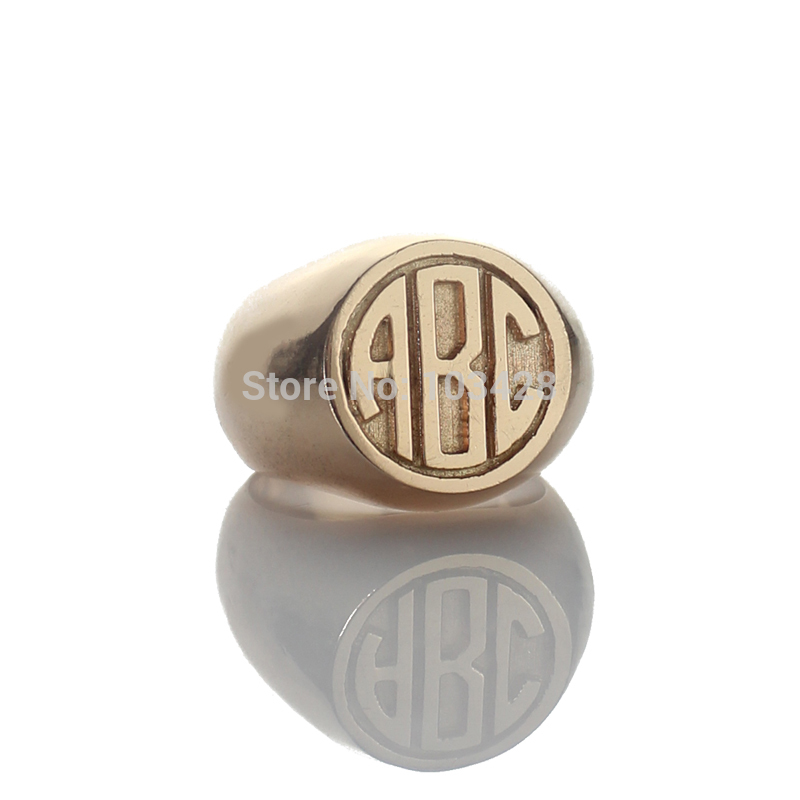 цена AILIN Personalized Circle Block Monogram Rings Engraved 3 Rose Gold Color Initials Customized Monogrammed Ring 0.59