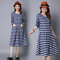 New Women Long Maternity Dresses for Pregnant Women Loose Clothing Maternity  Stripe Casual Cotton Mother Clothes CE310