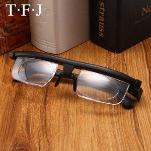 Adlens التركيز قابل للتعديل الرجال النساء نظارات للقراءة قصر النظر النظارات-6D إلى + 3D ديوبتر المكبرة متغير القوة