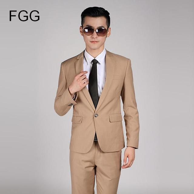 3c2be1b25af High Quality Men Khaki Suit Wedding Dress Groom Suit Prom Party Suits Set Mens  Business Casual Suit Terno Noivo