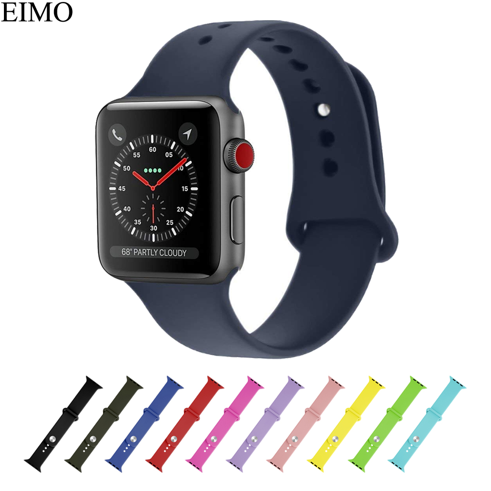 EIMO Silicone sport band For Apple watch series 3 2 1 strap Iwatch band 42mm 38mm wrist bands bracelet Rubber belt accessories sport silicone band strap for apple watch series 3 2 1 42mm 38mm rubber bracelet wrist watchband for iwatch watch accessories