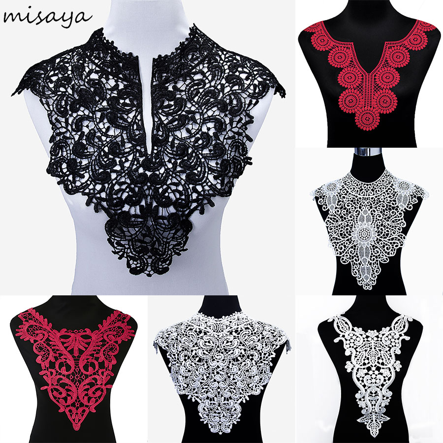 Misaya 1pc Polyester 4 Colors Flower Lace Neckline Fabric,DIY handmade Wedding Dress Lace Collar For Sewing Supplies Crafts fashionable sweetheart neckline sleeveless lace spliced dress for women