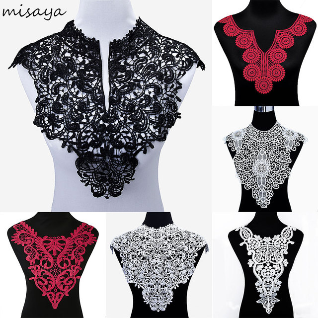Misaya 1pc Polyester 4 Colors Flower Lace Neckline Fabric,DIY handmade Wedding Dress Lace Collar For Sewing Supplies Crafts