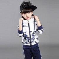 2018 Spring Girls Clothes Jacket Floral Kids Hoodies+Pants Kids Tracksuit For Girls Clothing Sets Girls Sport Suit