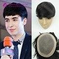 "100% Natural Hair Monofilament Hair Replacements for men 7x9"" Mens Toupee/ Wig, 7A Virgin human Hair touppe men wig Free Ship"