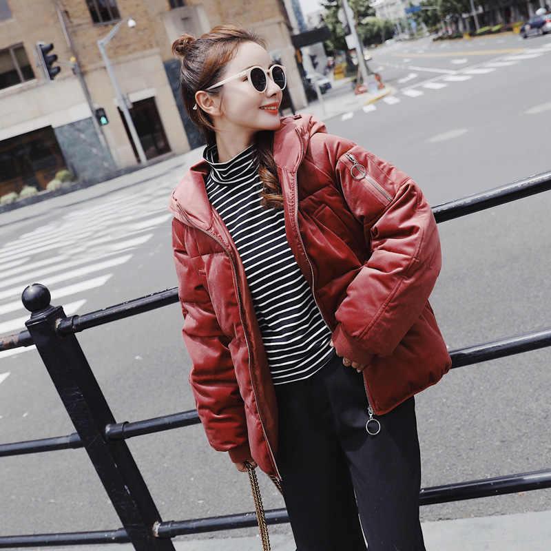 Hndjxxxy зимняя куртка Для женщин 2018 Новый капюшоном Осенне-зимнее пальто Для женщин куртка женские бархатные короткие парки верхняя одежда пуховик
