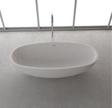 1700x800x500mm Solid Surface Stone CUPC Approval Bathtub Oval Freestanding  Corian Matt Or Glossy Finishing Tub RS65102
