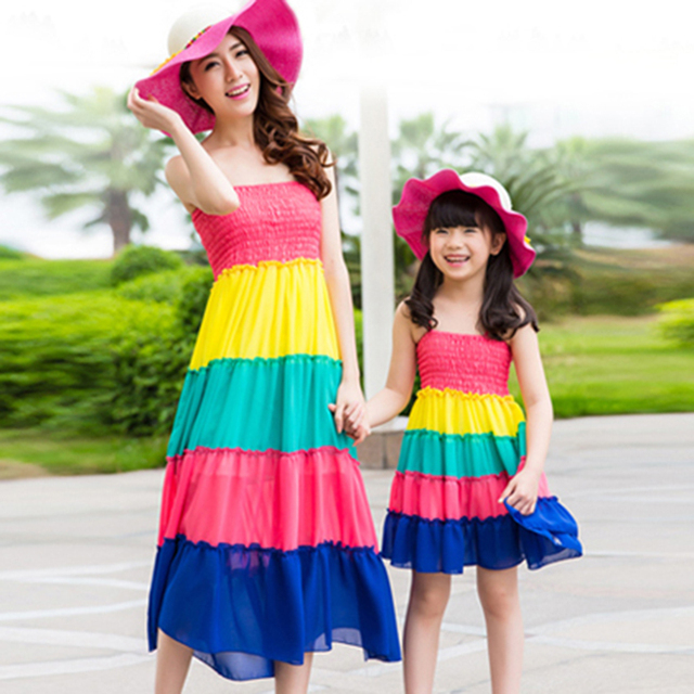 Mother Daughter Dresses Matching Clothes 2016 Summer Autumn Sandy Beach Family Clothing Mom And Daughter Dress Outfits