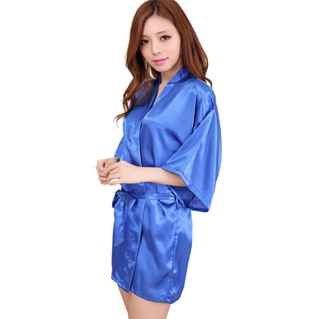 Blue 2016 Short Style Women's Silk satin Robe Gown Kimono Gown Wedding Party Bridesmaid Robe size S M L XL XXL XXXL