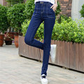 Autumn Winter Fashion Blue Black Mid Waist Jeans Women Clothing Brand Plus Size Elastic Washed Skinny Casual Denim Pencil Pants