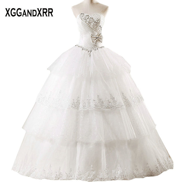 1a586362e56 Beaded Crystal Tulle Ball Gown Wedding Dresses 2018 Sweetheart Bow Off  Shoulder Bridal Dresses Lace Up Back Vestido De Noiva