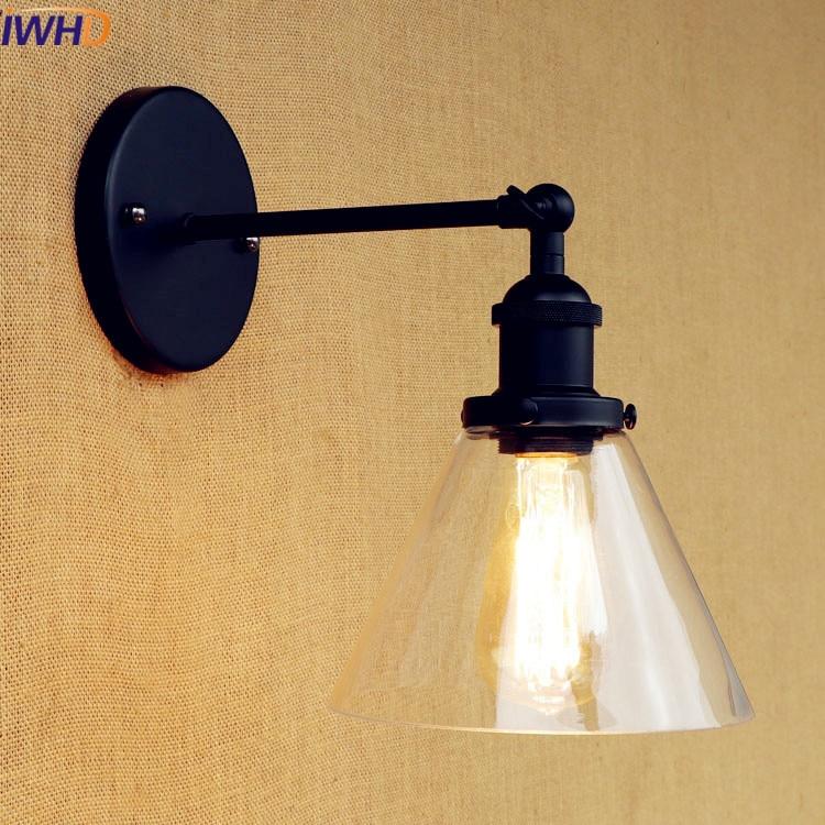 IWHD Glass Iron Vintage Wall Sconce Loft Retro Bedroom Light Wandlamp Loft Style Retro Led Wall Lamp Bathroom Lighting Stairs lighting stairs vintage wall sconces wall sconce - title=