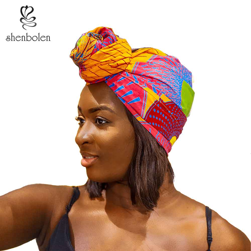 Shenbolen Ankara Couvre Femmes Traditionnelle Africaine Headtie Écharpe Turban 100% Coton Cire 72 x 22
