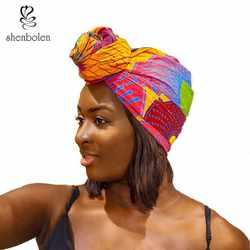 """Shenbolen Анкара Headwrap для женщин Африканский Традиционный платок тюрбан 100% хлопок воск 72 """"x 22"""""""