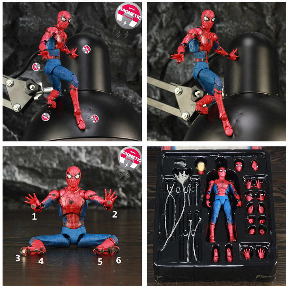 """Marvel Homem Aranha Tom Holland 6 """"Ver Lendas Spiderman Action Figure do Regresso A Casa Longe de Casa KO Mafex 047 medicom Toys Boneca"""