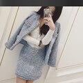 Светло-синий твидовый пиджак + юбка костюмы ручной бисером 2017 весна/осень/зима женские Куртки пальто новый дамы 2-х частей юбка костюм