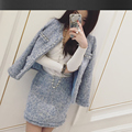 Light blue tweed jacket + skirt suits hand-beaded 2017 spring /autumn /winter women's Jackets coat new ladies 2-piece skirt suit