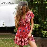 WildPinky Bohemian Floral Mini Mulheres Verão Vestido de Festa V neck Ruffle Bandage Vestido Feminino 2019 Elegante Holiday Beach Vestido de Verão