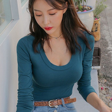 Shintimes Spring Autumn Vogue Long Sleeve T-shirts Women Ulzzang Female T Shirt Sexy Tee Femme Korean Style Top Clothes