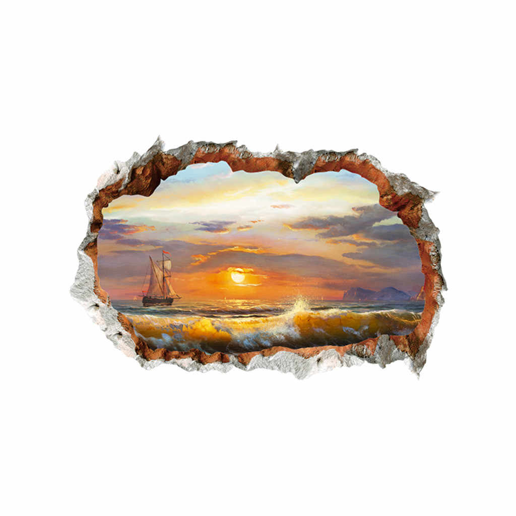 3D Broken Wall DIY Family Home Wall Sticker Nature Sunset Glow At The Beach Wallpaper Decal Living Room Mural Wall Art Poster