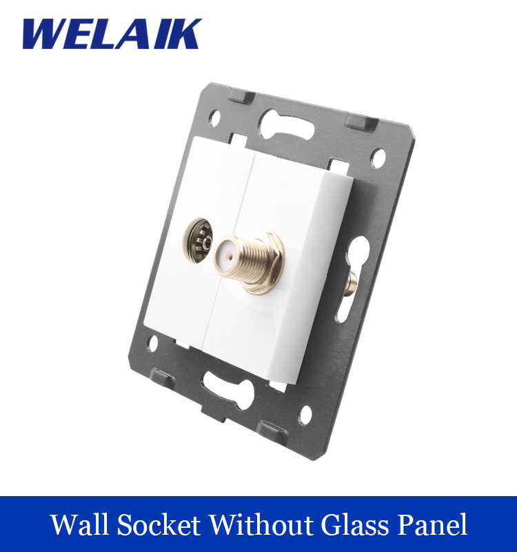 WELAIK EU Standard TV Satellite Socket  DIY Parts  White Wall TV Satellite  Socket parts Without Glass Panel A8TVSA sonex pagri 4262