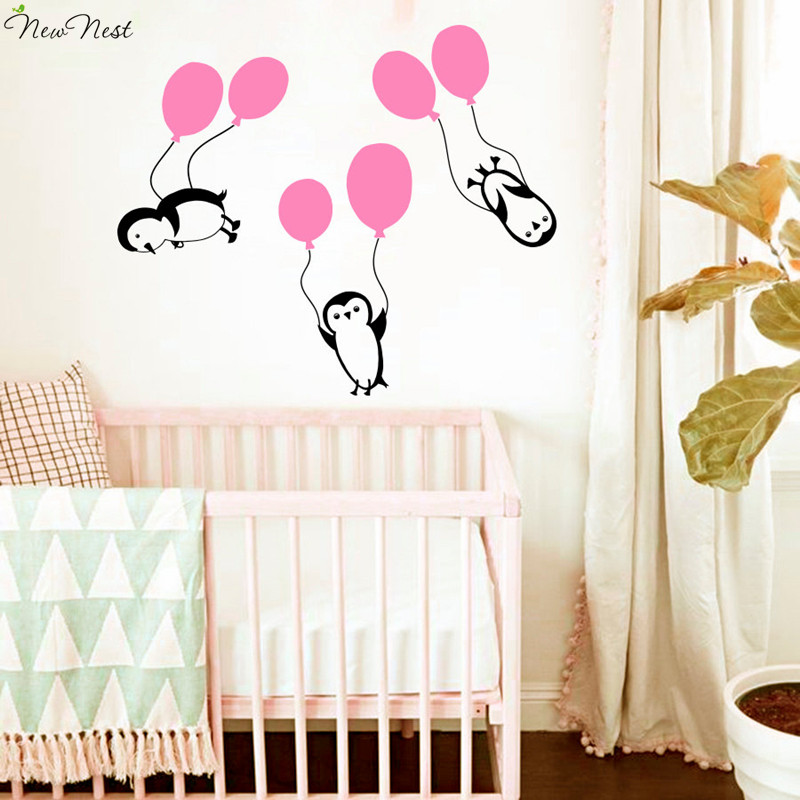Penguin Wall Decals Vinyl Sticker Home Decoration Penguins Hold On Balloons Descent Nursery Childrenu0027s Room Art Sticker Mural-in Wall Stickers from Home ...  sc 1 st  AliExpress.com & Penguin Wall Decals Vinyl Sticker Home Decoration Penguins Hold On ...