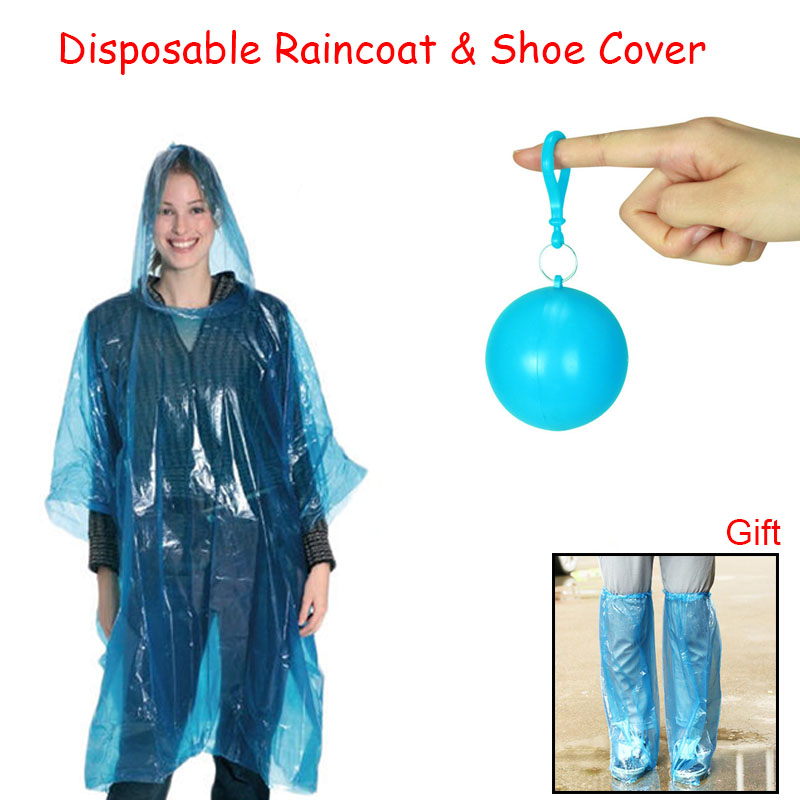 Summer Portable Disposable Raincoat & Disposable Rain Shoe Cover Rainwear Hooded Poncho Rain Suit Keyring Ball Suport Wholesale