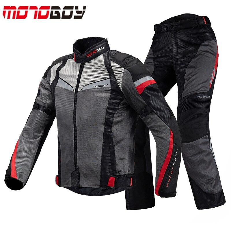 MOTOBOY D'été Respirant Moto Racing Vestes et Pantalons Costumes Réfléchissant Motocross Veste Vêtements Avec CE Équipement De Protection