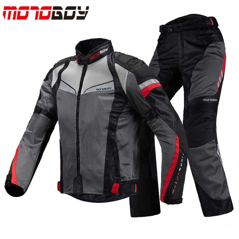MOTOBOY Summer Breathable Motorcycle Racing Jackets&Pants Suits Reflective Motocross Jacket Clothing With CE Protective Gear