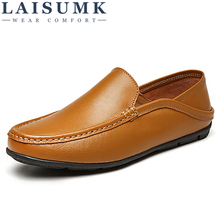 LAISUMK Casual Men Loafers Shoes Luxury Design Sneakers Leather Genuine Slip On Boat Summer Spring Male Footwear