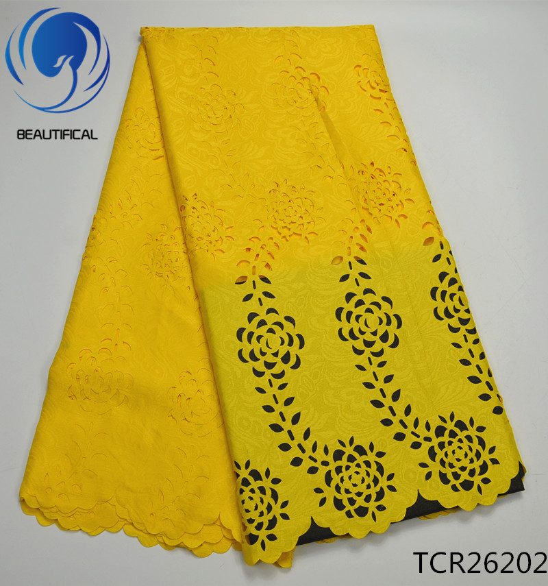 BEAUTIFICAL YELLOWE african swiss voile lace fabric 5yards 2017 Free shipping Latest Laser Cutting eyelet cotton