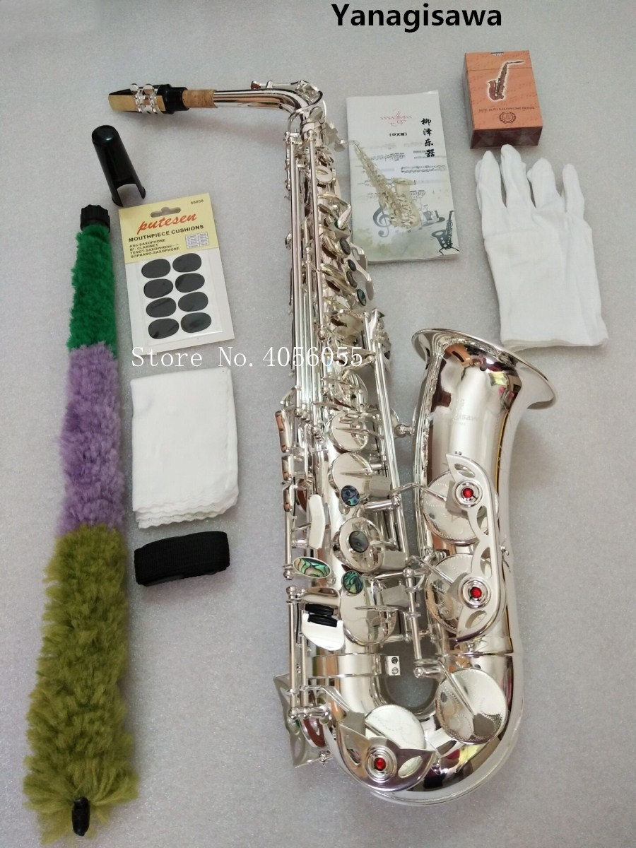 Japan Yanagisawa 902 Eb Alto saxophone musical instruments High Quality Silver plated brass alto saxophone with case. accessorie соска пустышка happy baby soother natural dental dog 13008 1