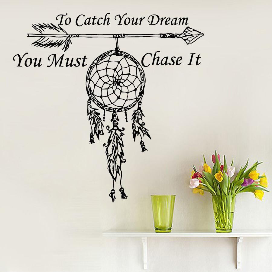 Fashion Wall Decals Quote To Catch Your Dream Catcher
