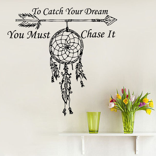 Super fashion Wall Decals Quote To Catch Your Dream Catcher Vinyl  DH09