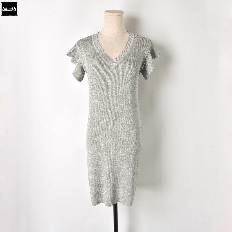 Runway Design Ruffles Elegant 2018 New Slim Basic Knit Sweater Dresses Women Knitted Slim Casual Dress Summer Knitwear Vestidos