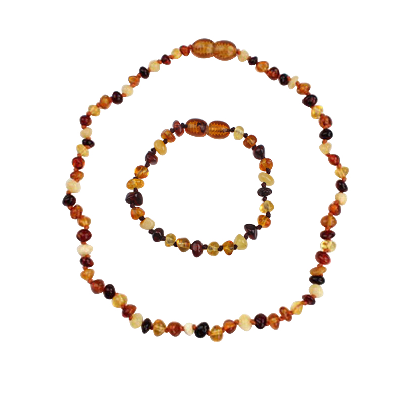 HAOHUPO 100 Natural Amber Stone Genuine Baltic Baby Teething Ambar Necklace Bracelet Natural Jewelry Sets for Baby Adult in Jewelry Sets from Jewelry Accessories