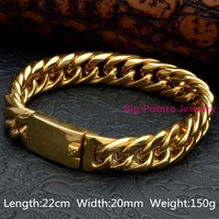 New Fashion 8.6620mm Heavy 150g Cool Men's Wrap Curb Cuban Gold Tone 316L Stainless Steel Bracelet Free Delivery