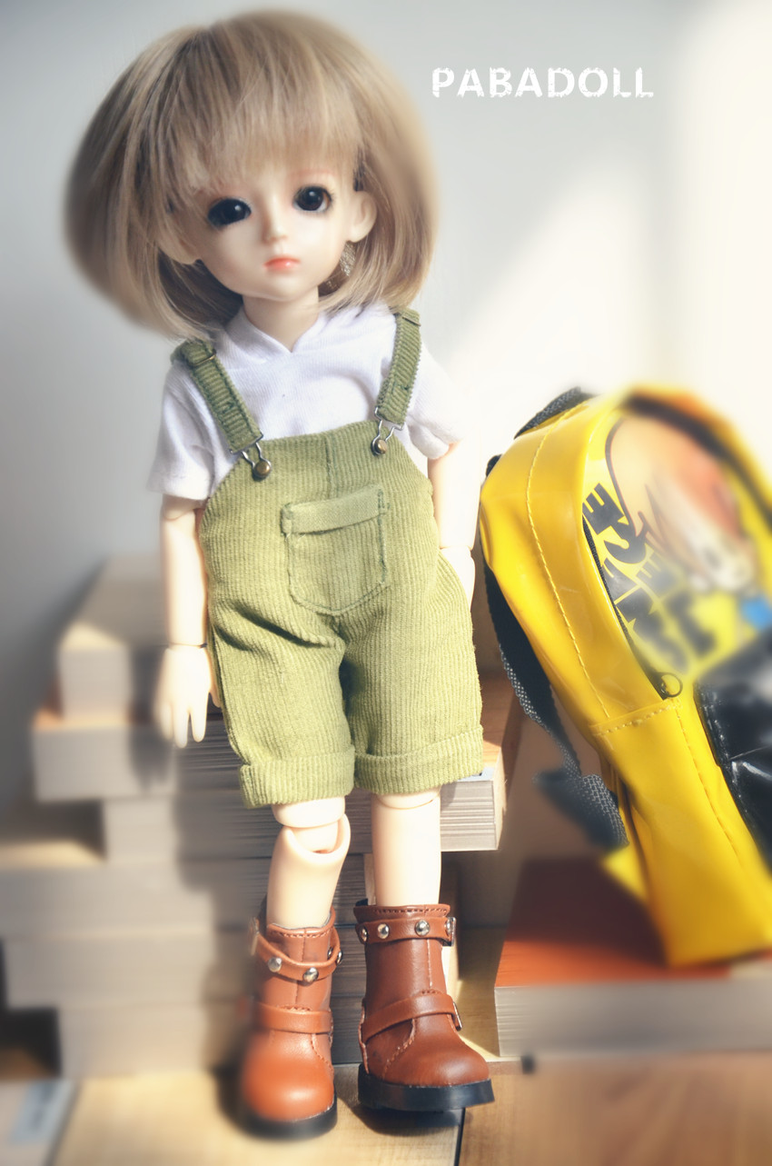 Light Green Bib Pants for BJD Girl/Boy 1/8 1/6 YOSD 1/4 MSD Doll Clothes CWB77 pencil pants casual pants for bjd sd17 sd13 1 3 uncle doll clothes accessories