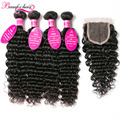 8A Malaysian Virgin Hair Deep Wave With Closure 4 Bundles Deep Wave Virgin Hair With Closure Curly Weave Human Hair With Closure