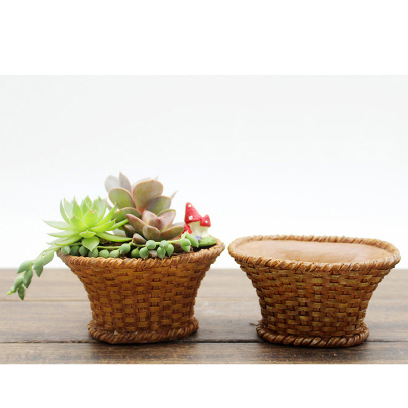 lindo mini pineal jardinera maceta cesta de flores en miniatura de resina decoracin del hogar artesana