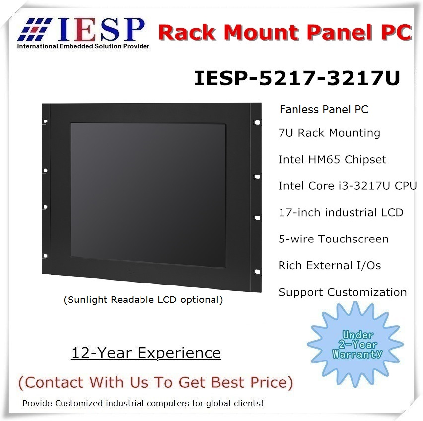 Rack-mount industriële 17 inch paneel-pc, i3-3217U / 4GB / 500GB HDD, 4COM / 4USB / GLAN, 5-draads touchscreen, rack-mount computer