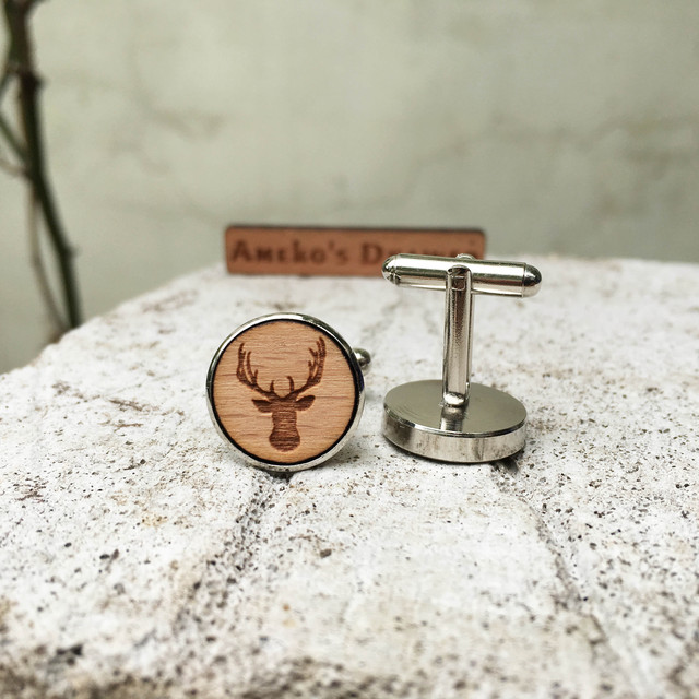 Deer Wooden Cuff Links Animal Wedding Groomsmen Head Wood Jewelry X 1 Pair