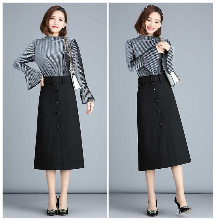 709e37eede5 ... Осенняя и зимняя длинная юбка женская винтажная шерстяная юбка с высокой  талией Saia Faldas шерстяные плиссированные ...