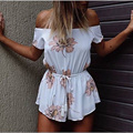 2017 New Sexy Slash Neck Jumpsuits Summer Women Off Shoulder Floral Print Playsuits Jumpsuit Casual Short Sleeve Shorts Rompers