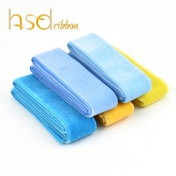 HSDribbon 9MM 16MM 22MM 38MM 50MM serie azul y amarillo cinta de terciopelo de color sólido