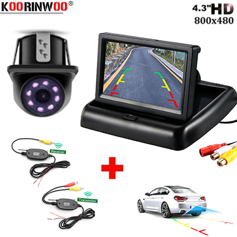 Koorinwoo CCD Wireless Car Styling Foldable Monitor 4 3 TFT LCD Color Screen Rearview Reverse camera